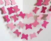 Pink Butterfly Garland,Butterfly Garland,Shades of pink Garland,10 feet Garland,Baby Shower Garland,Nursery Garland,Photo Prop Garland