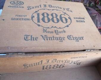 Wooden Cigar Box Saml J. Davis & Co 1886 New York