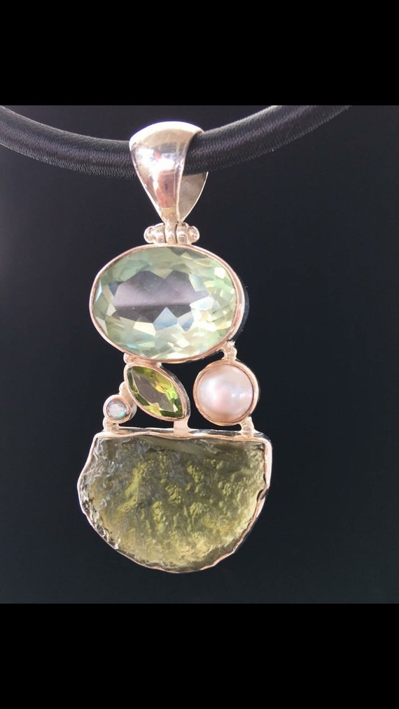 Mindfulness, Meditation, Moldavite, Green Quartz, Peridot, Freshwater Pearl, and Labradorite. 925 Silver Pendant.  Satin necklace included.