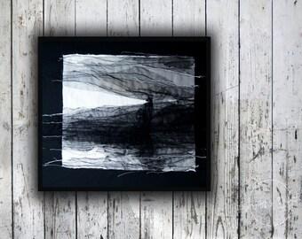 Lighthouse - Textile Art, Nautical Art, Contemporary Art, Fine Art, modern interior, wall hanging, black and white