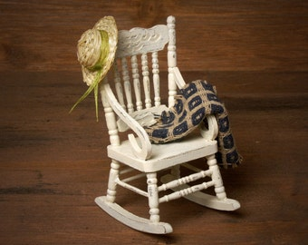 Shabby Chic Miniature Wooden Rocking Chair for Your Dollhouse
