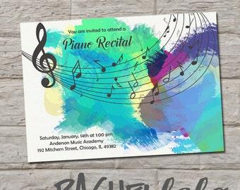 Music Recital invitation, do-it-yourself, digital print