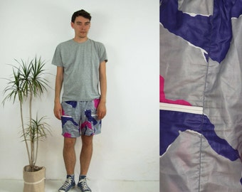 90's vintage men's gray-purple patterned shorts/cycling wear