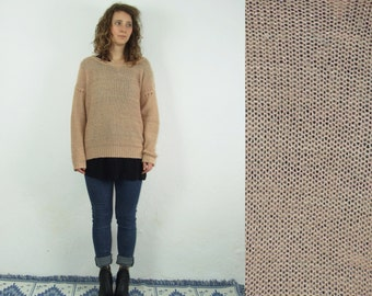 90's vintage women's peach knitted sweater