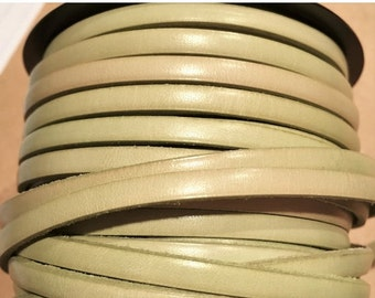 """SALE: Per 16""""  Distressed Pastel Yellow Green 5mm Flat Leather Cord, Strap"""