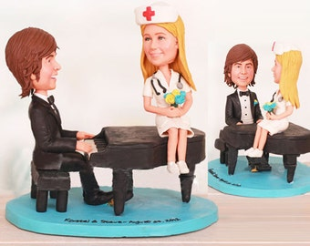 Piano Player and Nurse Wedding Cake Toppers - Personalised wedding cake topper  (Free shipping)