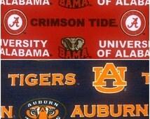 Alabama Crimson Tide & Auburn Tiger Cotton Twill Fabric! Great for Cornhole Bags! [Choose Your Cut Size]