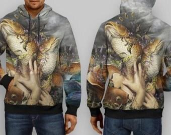 the monster fish monarch digital art full print hoodie custom design