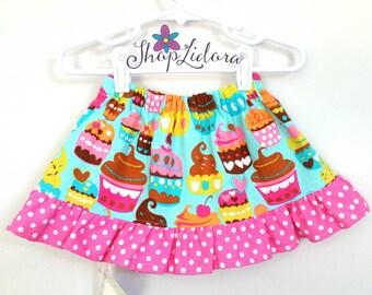 Cupcake skirt, toddler, pink ruffles, polka dot