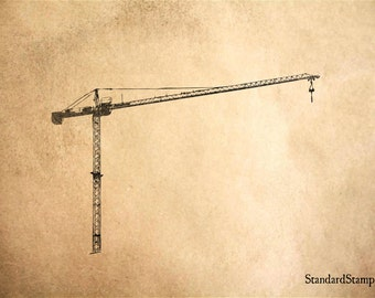Large Crane Rubber Stamp - 3 x 2 inches