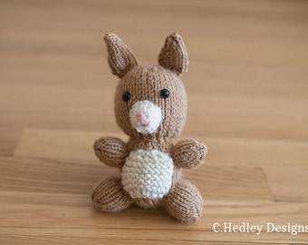 Mini Knitted Plush Bunny Rabbit - Baby Shower, Nursery, Stuffed Animal, Toy, Desk Companion and more
