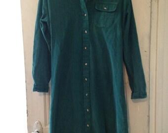 Vintage LL Bean Corduroy Shirt Dress