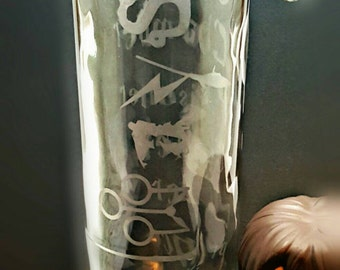 Harry Potter Glass Etched water bottle