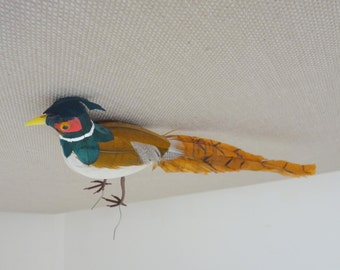 Old Vintage Faux Bird or Small Pheasant with Colorful Real Feathers For Crafts - Never used - NOS