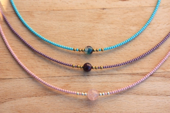 Items Similar To Tiny Beads Choker Necklace Seed Bead