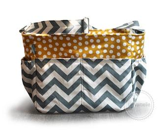 Large Grey chevron and yellow polka dot chevron diaper bag / chevron knitting bag / chevron tote bag