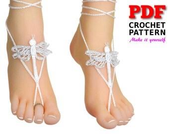 Barefoot sandals | Crochet | Crochet pattern |  wedding sandals | DRAGONFLY