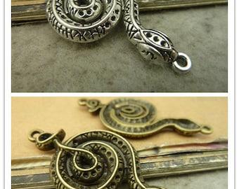 10pcs 24x50mm Antique Bronze Antique Silver Snake Charms Pendants Jewelry Findings Wholesale AC5341