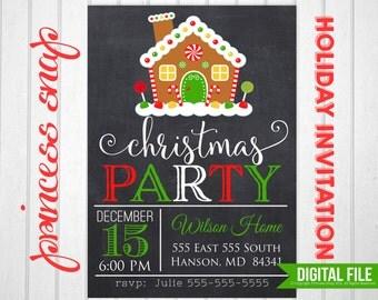 Christmas Party Invitation, Printable Christmas Invitation,  5x7 or 4x6, Holiday Party Invitation, DIY Holiday Printable Invitation