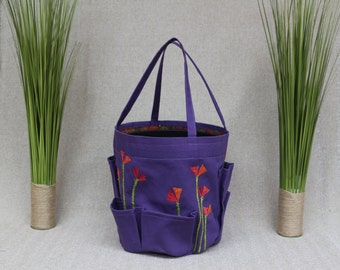Garden bag in purple canvas with batik  california poppies