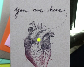 Anantomical Heart, You Are Here, coloured dot, Valentines, morbid, medical, handlettering, blank,choice of dot and envelope colours