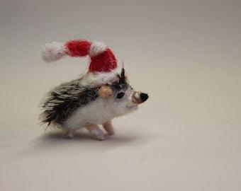 Needle Felted Hedgehog-Christmas Hedgehog-Christmas Ornament-Needle Felted Animal