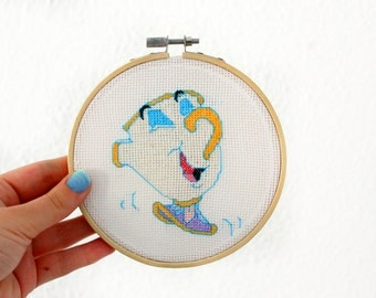 Chip Beauty and the beast  Disney Cross stitch embroidery hoop