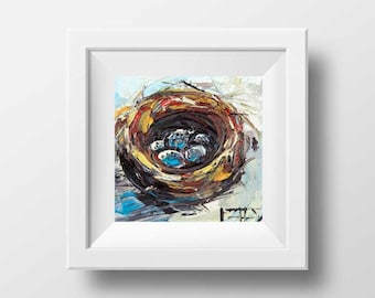 Bird Nest Print, Bird's Nest Art, 8x8, Print, Bird Print, Palette Knife, Sprint Print, Bird, Birds, Eggs,Modern Contemporary Canvas Wall Art