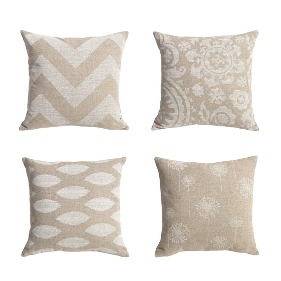Beige Throw Pillow Covers : One Burlap Beige Decorative Throw Zipper Pillow by Pillomatic