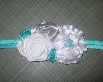 Coupon Code Posted! Silver, White and Robin's Egg Blue Rosette Headband  - Ready to Ship