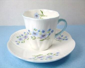 Vintage Shelley Tea Cup & Saucer, Shelley Demitasse Blue Rock Tea Cup Set, Shelley Fine Bone China, Shelley Demi Blue