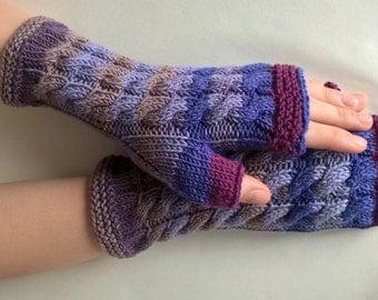 Handmade purple, blue, burgundy ( multicolor ) fingerless gloves, wrist warmers, fingerless mittens. Knitted of 100 % wool.