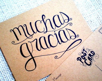 Muchas Gracias Thank You Postcards - Set of 10 Hand Lettered Spanish Muchas Gracias Postcards - Kraft Thank You for Wedding or Any Occasion