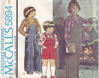 1977 Boys' Overalls and Shirt Pattern, McCalls 5894, Size 5