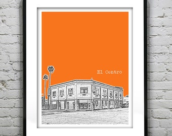 El Centro California Skyline Art Print Poster CA Version 1