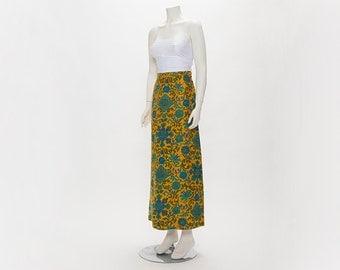 yellow + floral maxi skirt vintage 1970s • Revival Vintage Boutique