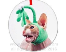 Holiday Sphynx Cat Custom Ornament, Christmas Ornament, Catmas, Personalized Cat Ornament. Keepsake Collectors Holiday Decor, Kiss Me-OW!