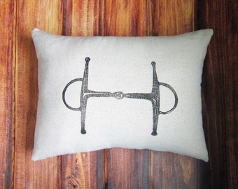Equestrian Pillow Cover fits 12 x 16 pillow- handprinted Full Cheek Snaffle Bit- Cover Only