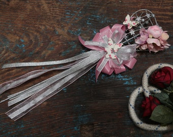 Flower Girl Wand - With Flowers - Silk & Organza Ribbon - Pink / Silver (Other Colours Available)