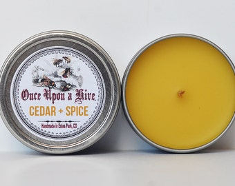 Cedar & Spice Beeswax Candle Tin | 4 oz. Candle | Natural | Travel Tin | Container Candle | Scented