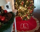 Red burlap ruffle tree skirt, Monogram tree skirt, handmade tree skirt, shabby tree skirt, country chic rustic Christmas tree skirt