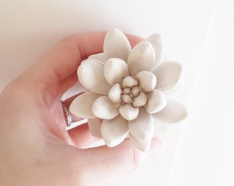 Succulent sculpture, modern floral, desk decor, stone plant