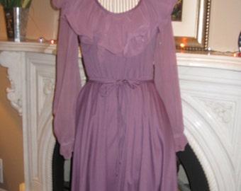 1970s Womens Montgomery Ward Plum/ Grape Purple Chiffon/Knit Party Dress/ Bridesmaid Dress / New Years Eve Dress/ Special Occasion Size XS