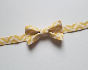 Boys Bowtie - Yellow Chevron Fabric - One Size Fits Most Adjustable Bow Tie Infants Toddler Child Tween Boy Men