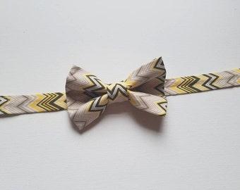 Boys Bowtie - Yellow & Grey Chevron Fabric - One Size Fits Most Adjustable Bow Tie Infants Toddler Child Tween Boy Men