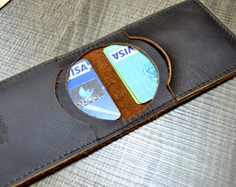Card holder- made from italian natural dark brown leather