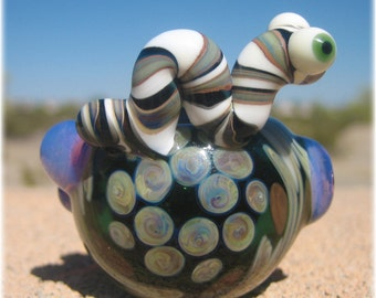 Flower Pipe - Worm Pipe - Heady Pipe - Spoon - Pipe Art - Unique - Heavy & Thick - black pipe - Purple Slime
