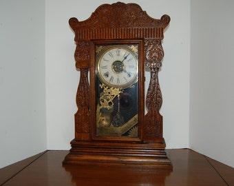 Antique Mantle Clock, Parlor Clock, William Gilbert Clock, Vintage Wood Clock