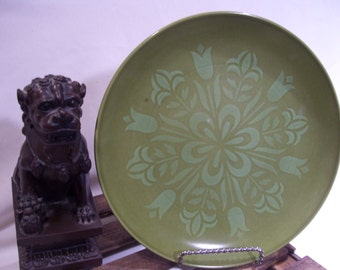 7 Rare Mitani Stone Dinner Plates by Nikko Ceramics in the Coronado pattern, Tulip, Avocado Green