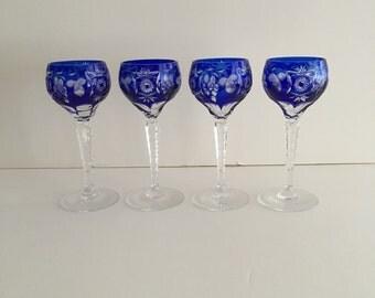 Set of Four Cobalt Blue Wine Stems